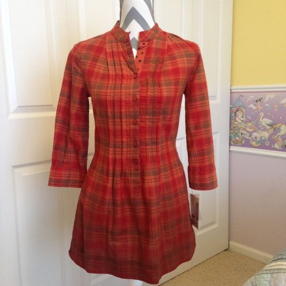Plaid patterned cotton tunic cuet cotton tunic in orange red plaid pattern, looks great when paired with skinny jeans or leggings Mossimo Supply Co Tops Tunics