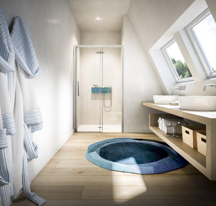 kleines helles bad mit dachschr ge und nischendusche badezimmer gestaltungsideen pinterest. Black Bedroom Furniture Sets. Home Design Ideas