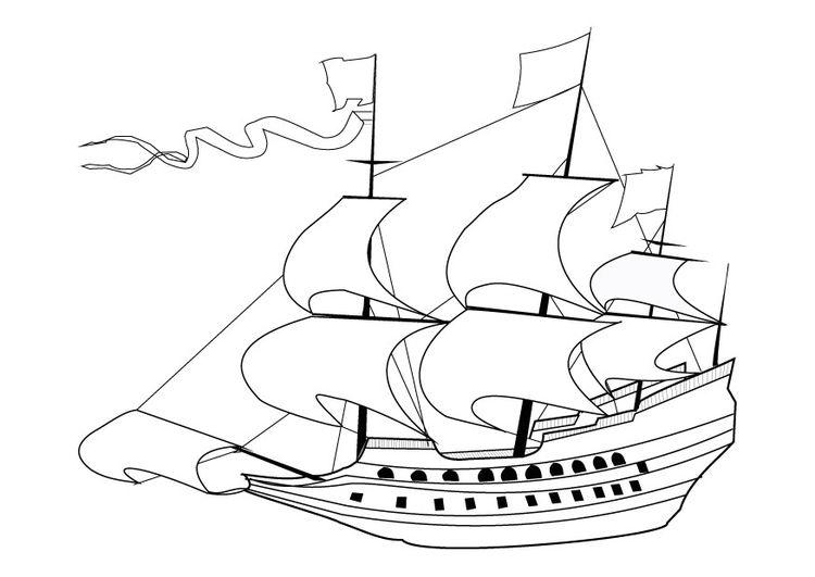 Dibujo Para Colorear Barco Velero Del Siglo 17 Páginas