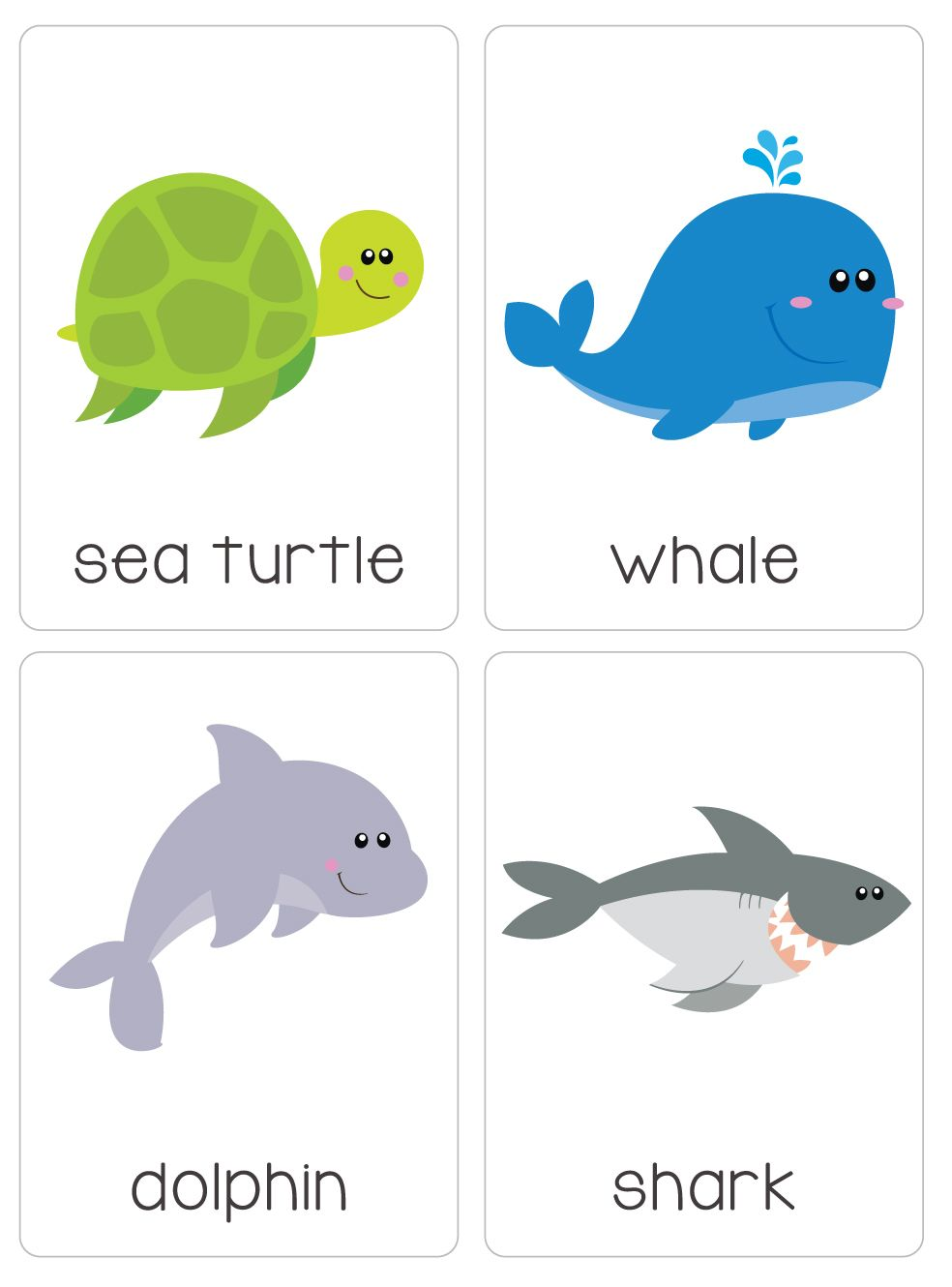 Bilingual dolphin counting card 6 clipart etc - Our Set Of Printable Under The Ocean Flash Cards Are A Great Learning Tool
