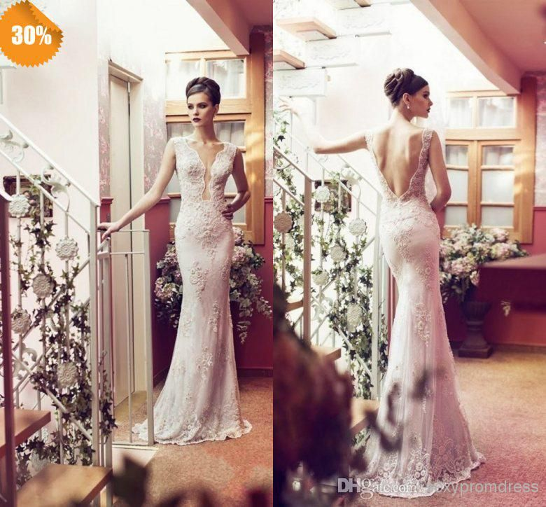 Wholesale Fancy Elegant Plunging Neckline Mermaid/Trumpet Open Back Backless Organza Wedding Dresses Galia Lahav Lace Beach/Church/Garden Bridal Gowns, Free shipping, $173.33/Piece | DHgate Mobile