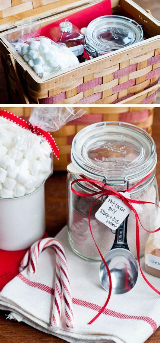 Hot Cocoa Mix DIY Christmas Baskets for Teens Holidays