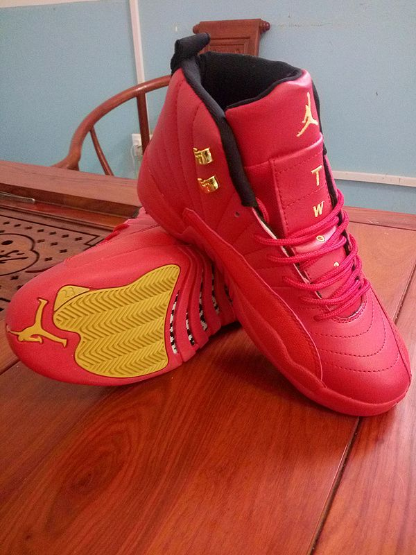 New Air Jordan 12 All Red Gold Shoes  a56ab2326e4b