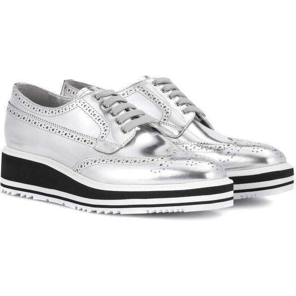 66e8620d Prada Wingtip Leather Platform Brogues ($805) ❤ liked on ...