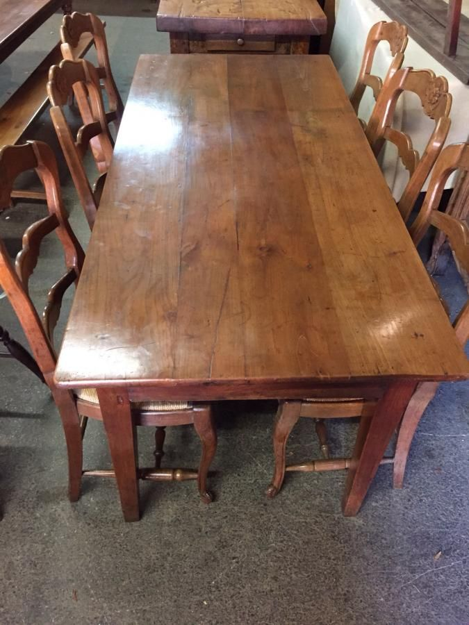 Lovely Antique French Cherry Dining Table Gorgeous Colour And Patina One End Drawer And Sits On French Farmhouse Table Antique French Farmhouse Dining Table