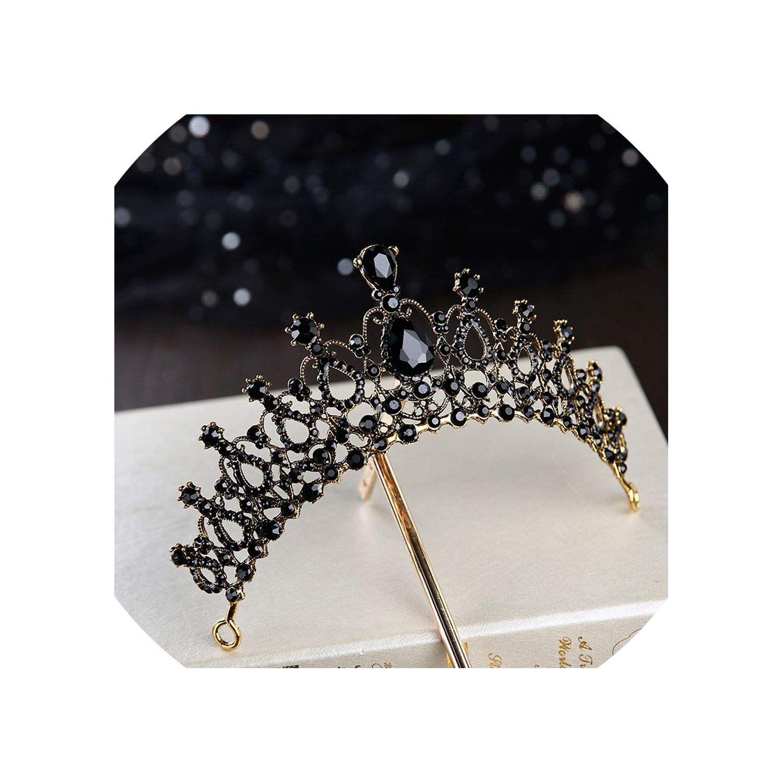 Black Wedding Hairstyles With Crown: Retro Black Bridal Crystal Tiaras Crowns Princess Queen