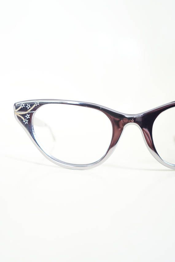 d1d70c5535 Vintage 1950s Tura Cat Eye Eyeglasses Sunglasses Womens Glasses Shiny  Silver Star Hollywood Glamour 50s Fifties Cateye Pin Up Sexy