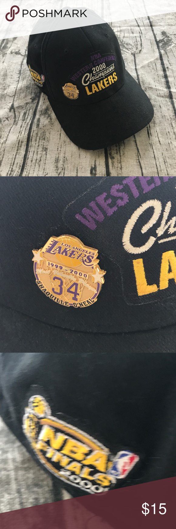 6bf2fd8639110 2000 Lakers Nike Hat w  Shaq  34 Pin 2000 Los Angeles Lakers Nike Black Hat  Logo Athletic w  Shaq  34 Pin Please see photos as we do consider them to  be ...