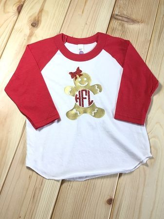 Kids Christmas Ginger Bread Shirt Our Monogrammed Raglan Is Super Soft Girl Shirts Will Have A Bow On The Gingerbread