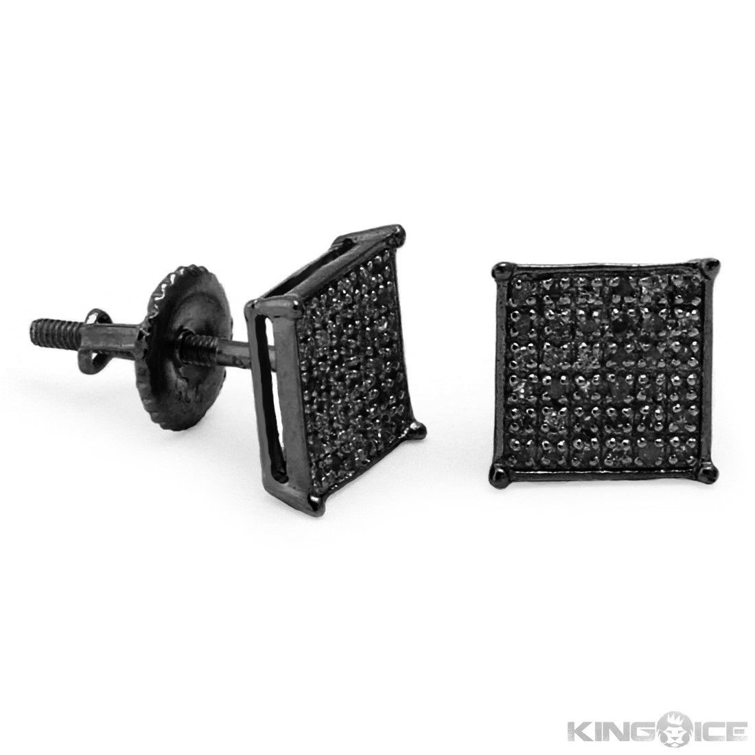Black On Diamond Square Earrings Hip Hop Jewelry Urban