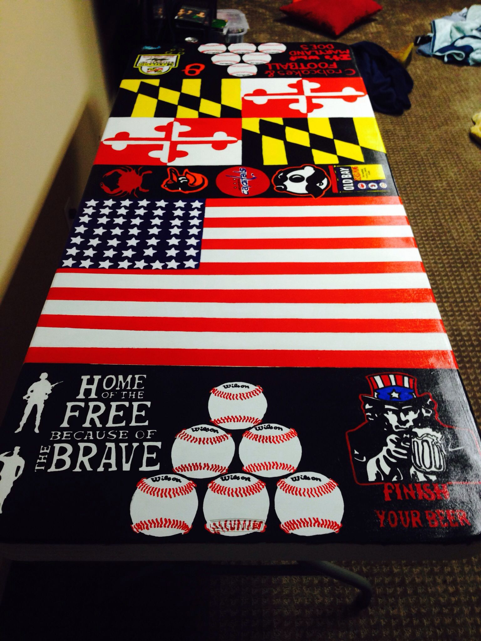 Homemade beer pong table - Hand Painted Beer Pong Table
