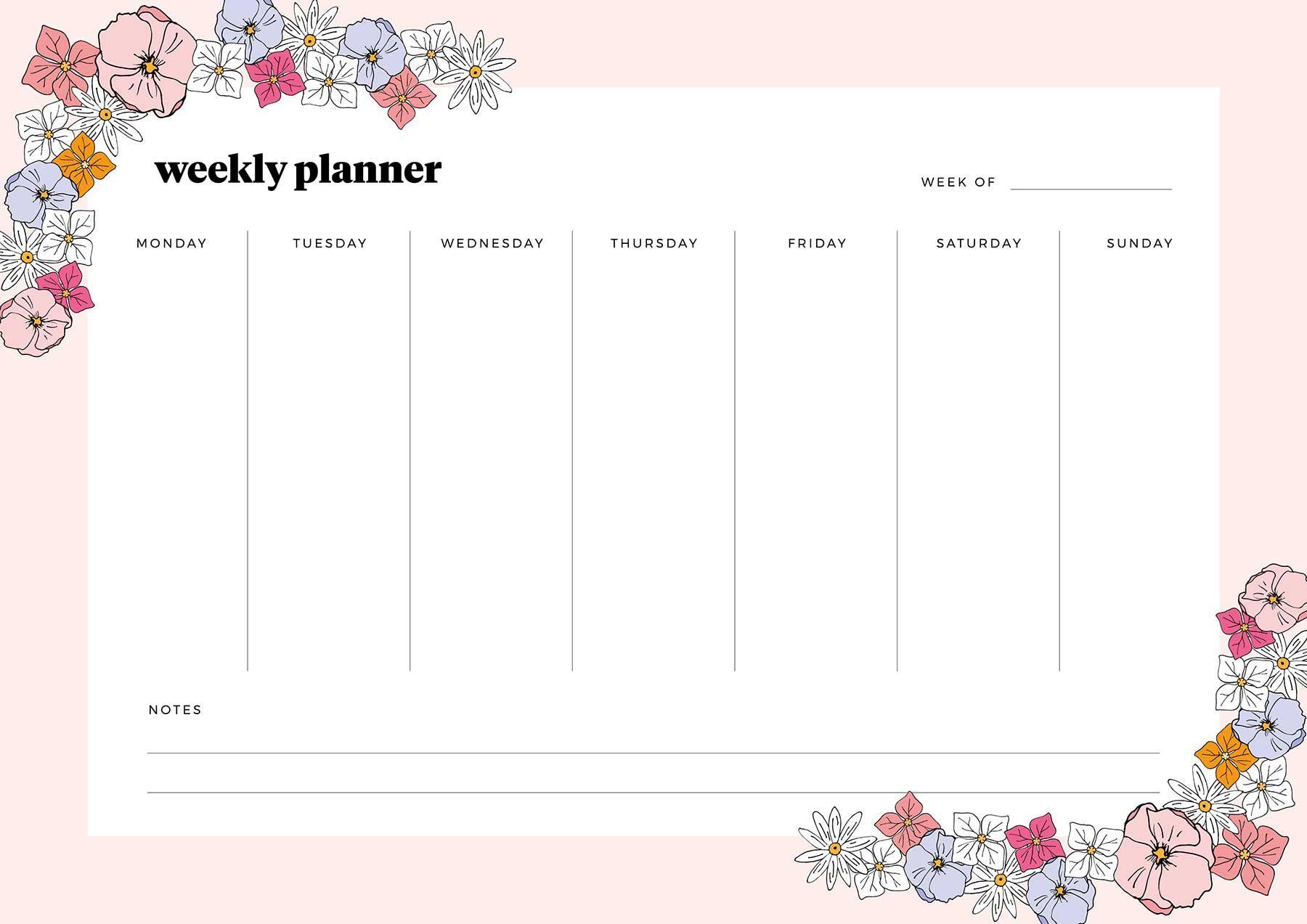 Printable weekly planner   Weekly planner, Weekly planner ...