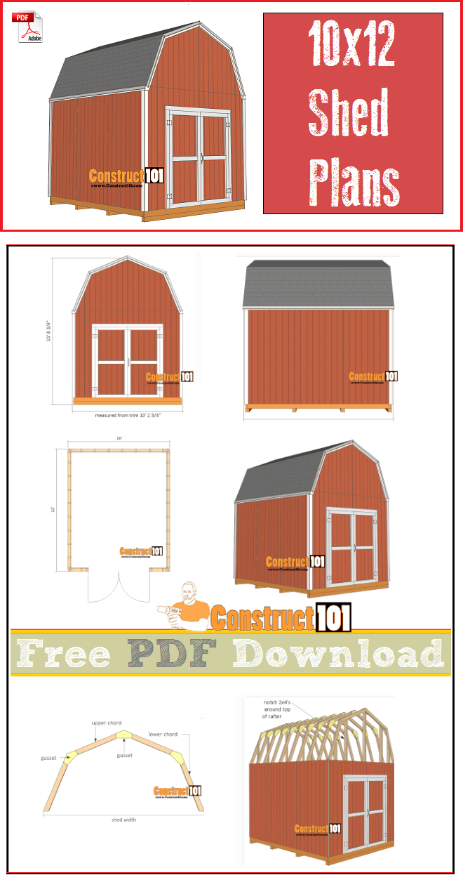Shed Plans 10x12 Gambrel Shed Pdf Download Construct101 Woodworking Plans Free Shed Plans Woodworking Plans Pdf
