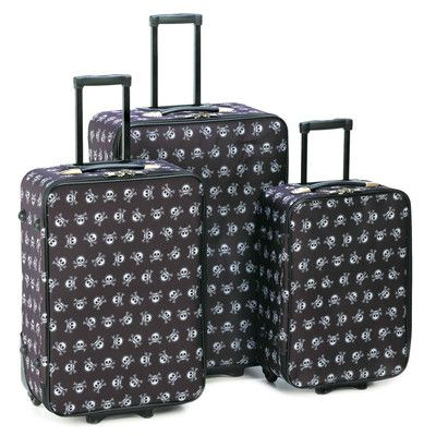 Stand out from the crowd wherever your journey takes you! Fashion meets function in this roomy three-piece luggage set with splashy all-over skull and crossbones pattern; pull-out handles and wheels make travel a breeze. A vacation from ordinary boring accessories! Includes large, medium and small rolling zippered cases. Grip handles on both sides.