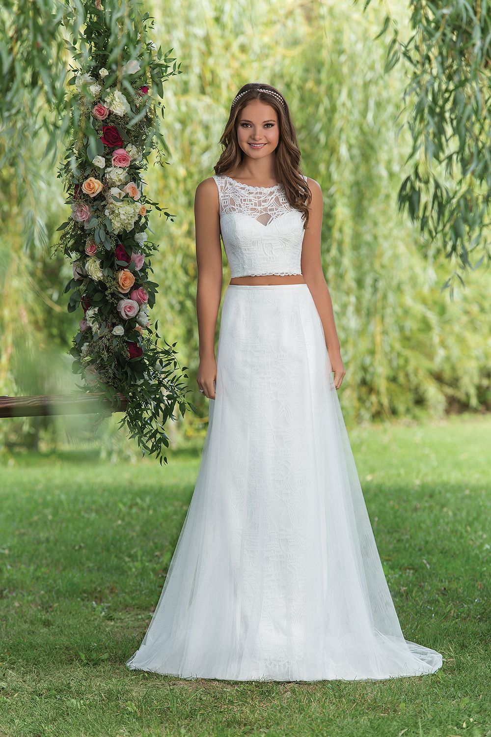 Sweetheart Gowns Style 6140 Ivory Size 8 An Adorable English Net And Lace Cropped Top Skirt Set With A Sabrina Neckline Architectural