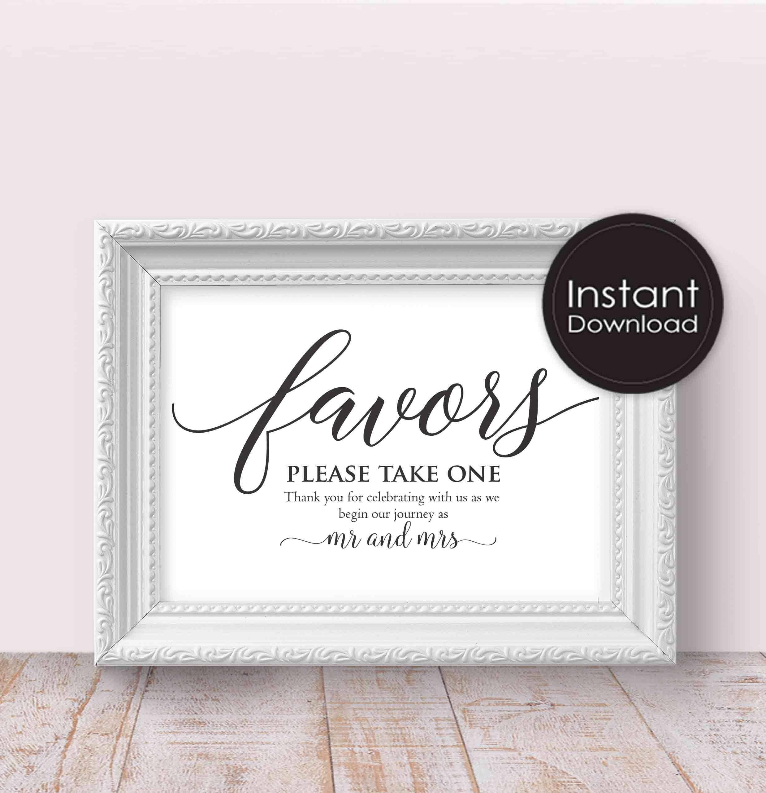 Wedding Favors Sign - Printable Wedding Decor, Wedding Signs ...