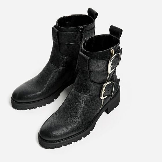 e75842aa3d62 Image 6 of LEATHER ANKLE BOOTS WITH BUCKLES from Zara
