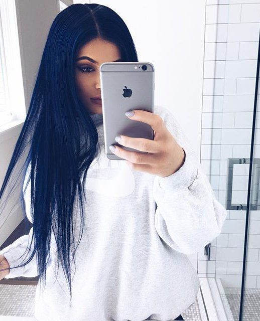 Image result for kylie in royal blue hair