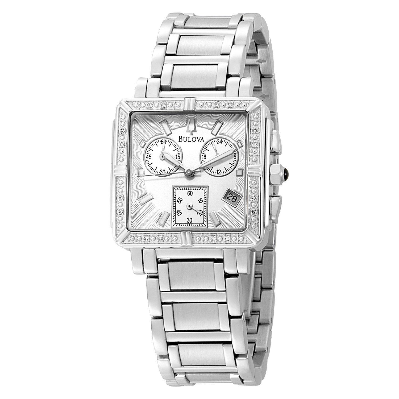 e51772352c6 Bulova Women s 96R000 Diamond Accented Chronograph Watch