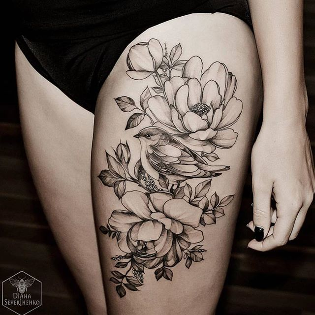 beautiful floral thigh piece by diana severinenko thighs and tattoo. Black Bedroom Furniture Sets. Home Design Ideas