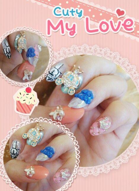 Nails I did, #cinderellanails #cinderella