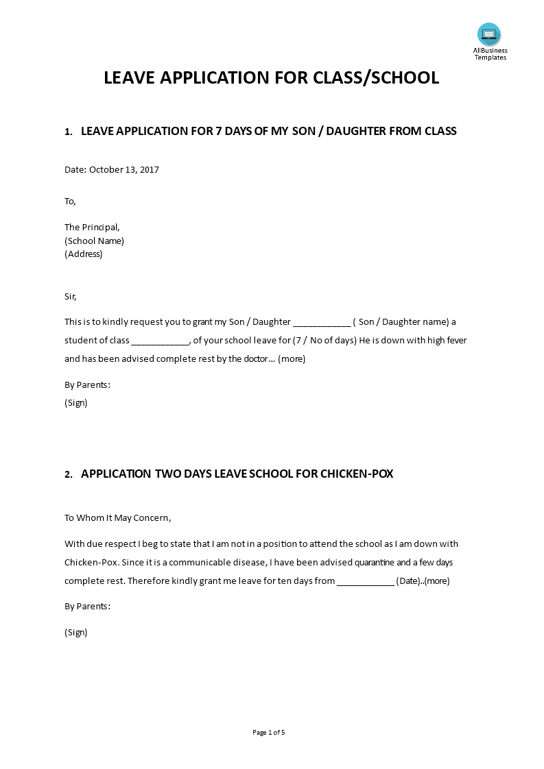 Leave Application From School Messages Template  How To Write