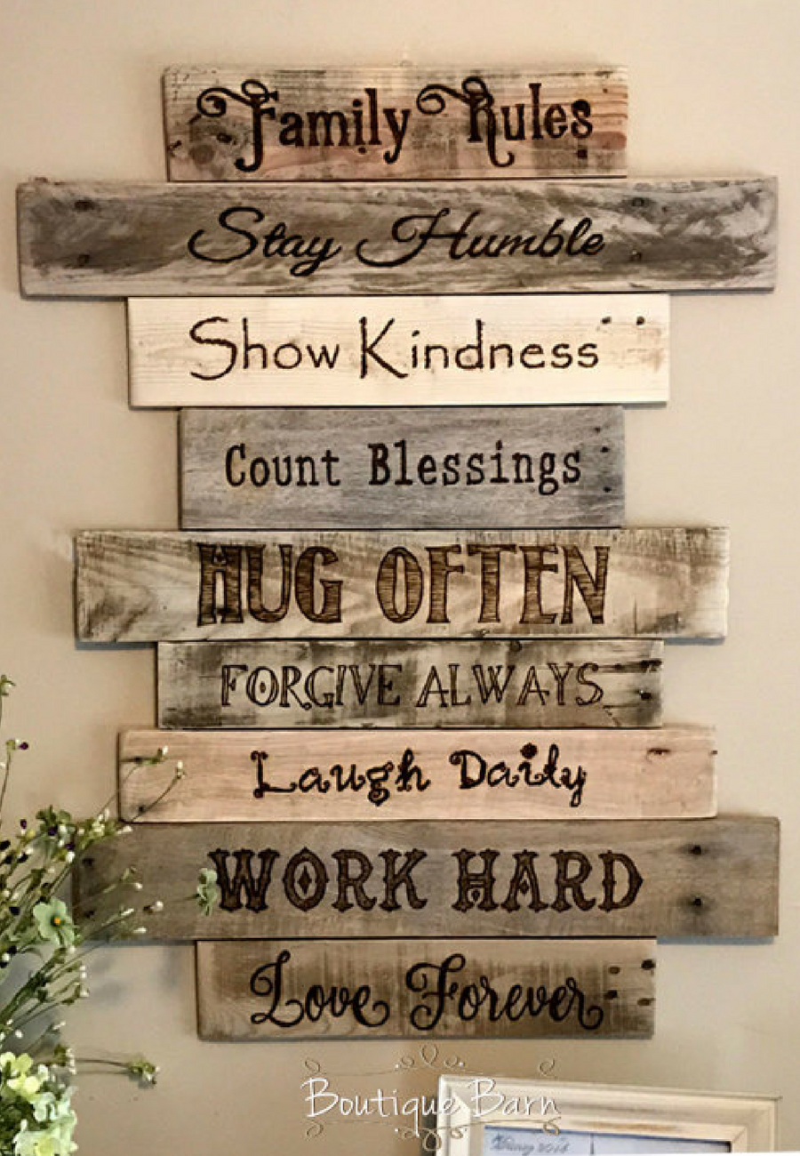 Family Family Rules Sign Wood Sign Wall Decor Farmhouse Decor Country Home Decor Handmade Rustic Decor Reclaime Family Wood Signs Rustic Wall Art Handmade Home