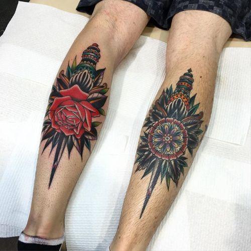 Rib Dagger Tattoo Traditional Tattoo Traditional Dagger Tattoo Calf Tattoo
