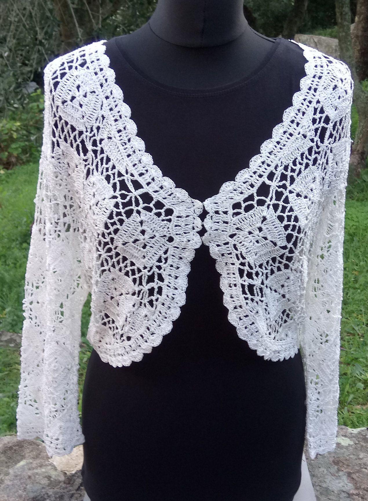 Vintage Cream Wedding Shrug, Crochet Knit Bridal Cover Up, Cream Bridesmaid Bolero, Sparkly Wedding Shrug