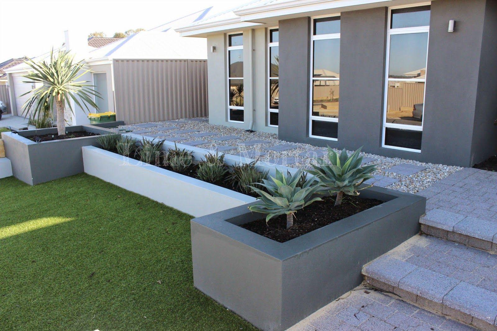 Lime Mortar Minimal Maintenance Frontage Modern Front Yard House Landscape Front Yard Design