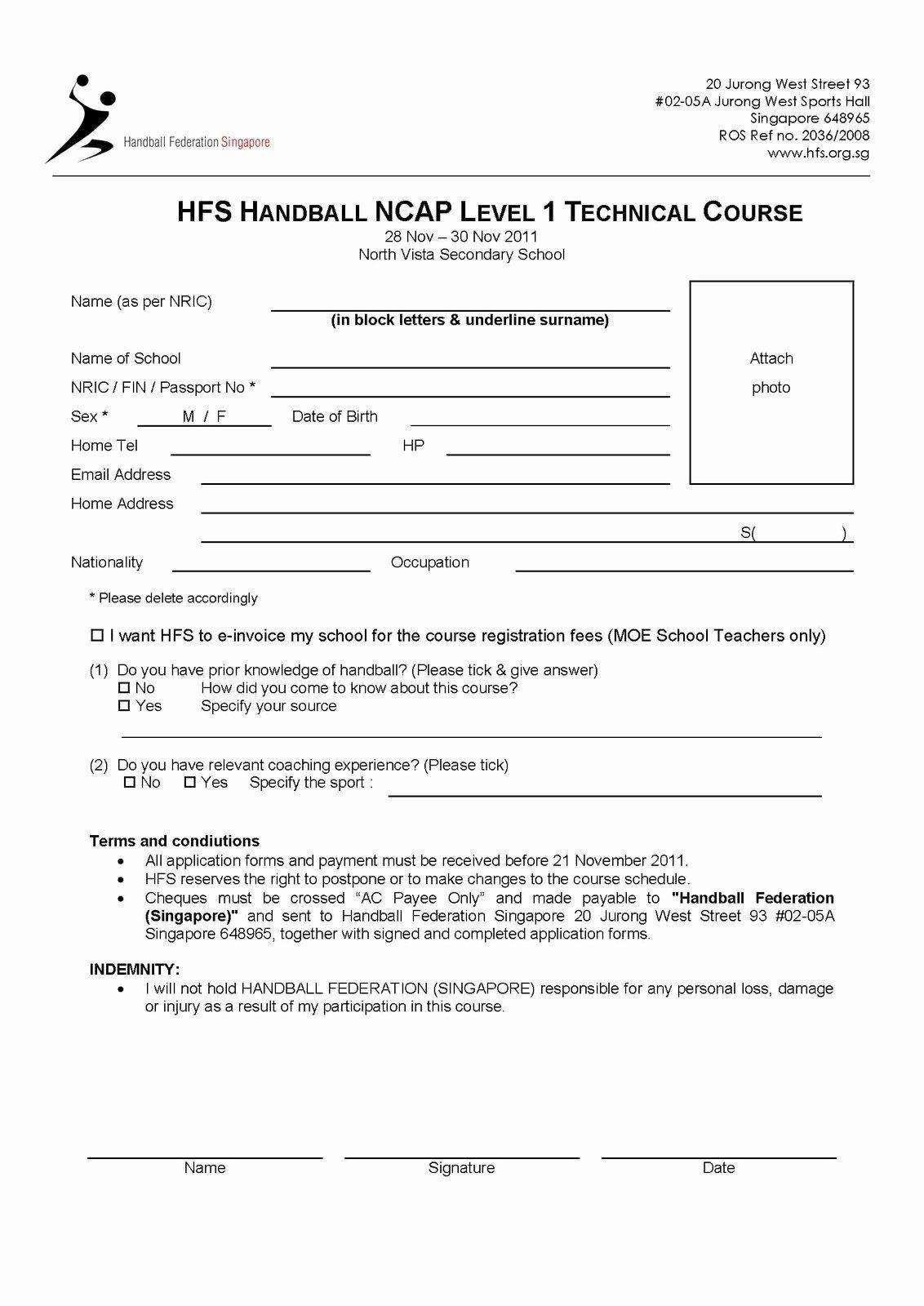 Sports Registration Forms Template Unique I Love Handball Do You October 2011 Registration Form Sign Up Sheets Templates