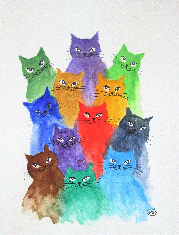 Kitten And Cat Original Art By Marjansart Cat A Lot Of Etsy Cat Painting Cat Art Cat Colors