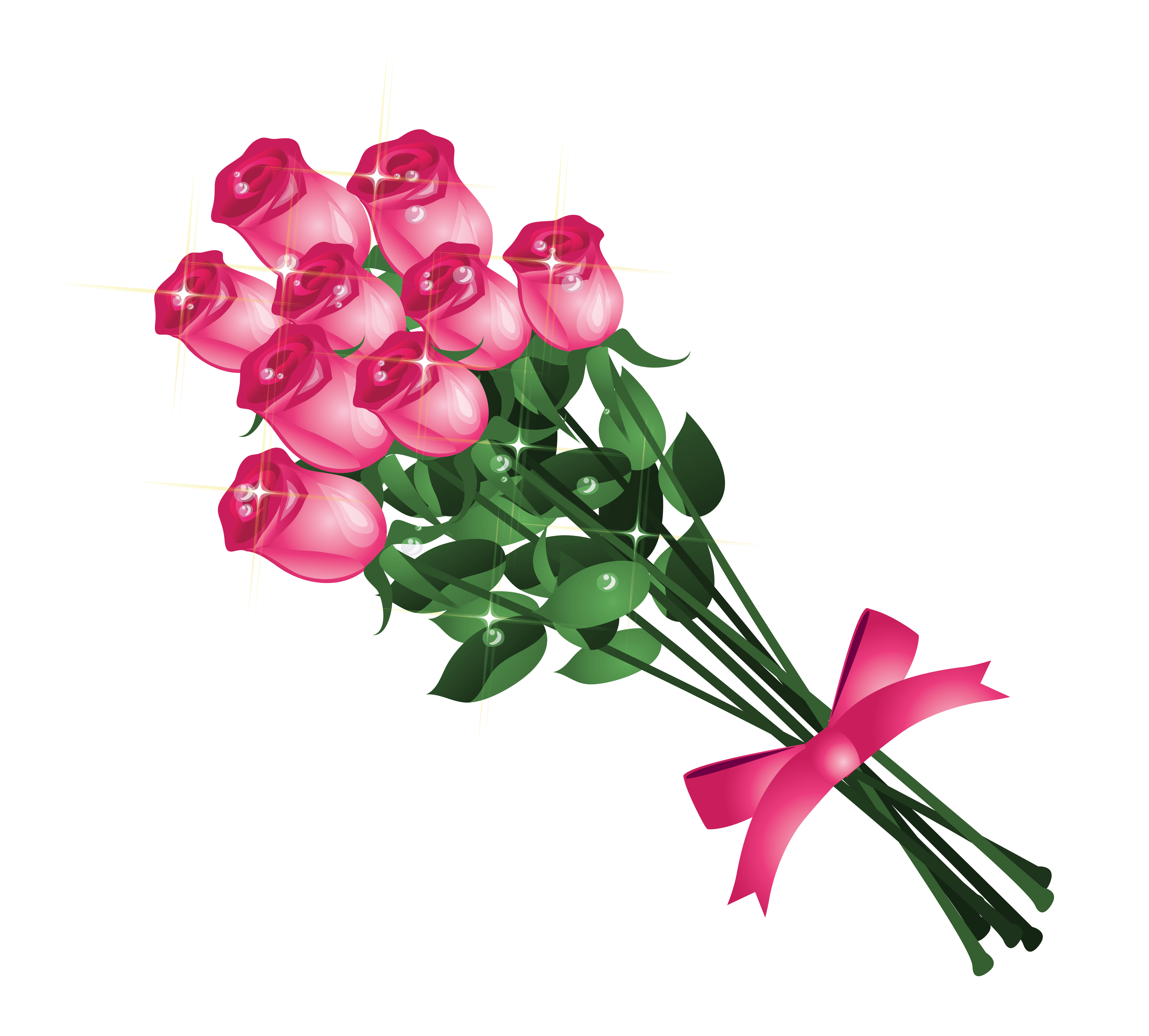 Transparent Pink Roses Bouquet Png Clipart Picture Pink Rose Bouquet Flower Drawing Digital Flowers