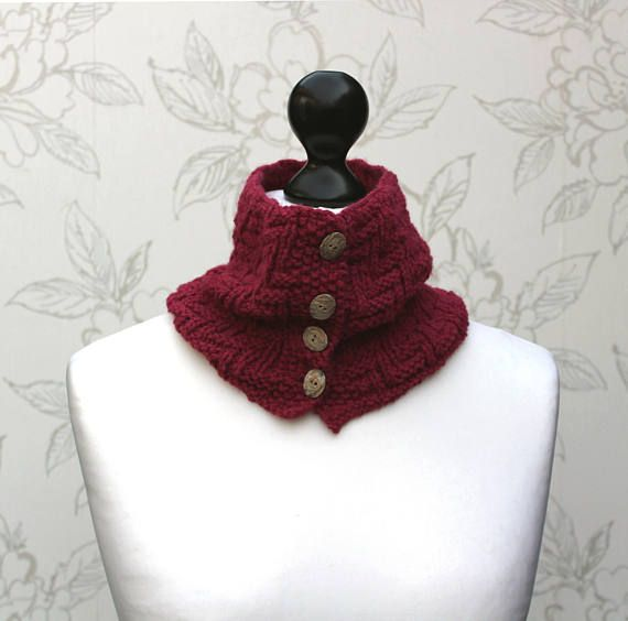 Raspberry Knit Cowl, Buttoned Cowl, Button Cowl, Patterned ...