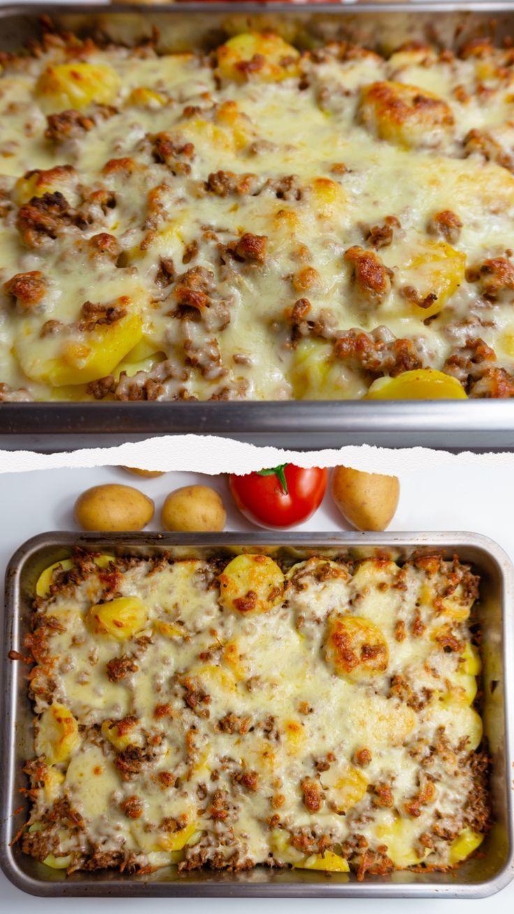 Cazuela de carne picada de papa con queso feta   - Essen -