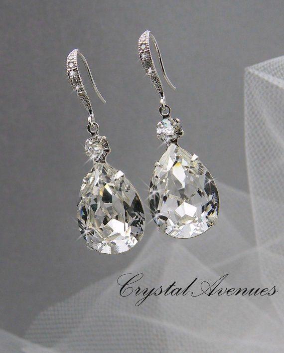 Brautschmuck swarovski kristallen  Crystal Bridal Ohrringe Hochzeit Schmuck Swarovski Kristall ...