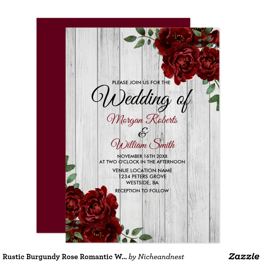 Rustic Burgundy Rose Romantic Wedding Invitation | { Wedding ...
