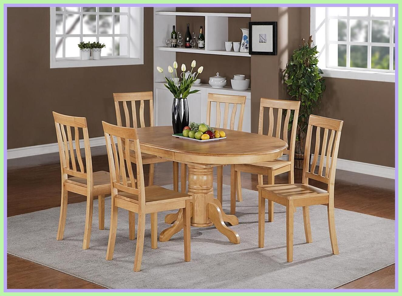 Coastlink Vegas Round To Oval Dining Table Set For 6 Heritage Slat Back Chairs Click Image For More Det Oval Table Dining Round Dining Room Dining Room Sets