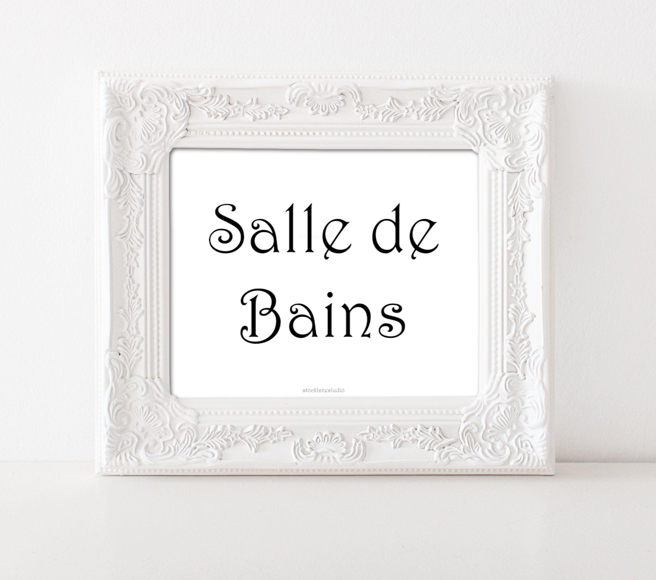 Printable Bathroom Art Salle De Bains Door Sign, Black