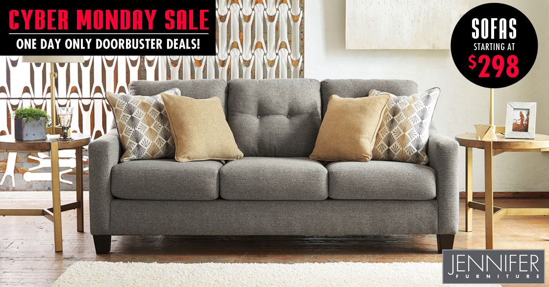 One Day Only Cyber Monday Sofas, Jennifer Furniture Com