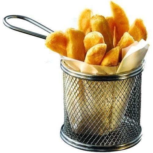 Mini Chrome Chip Basket Round Frying Fry Serving Basket 10