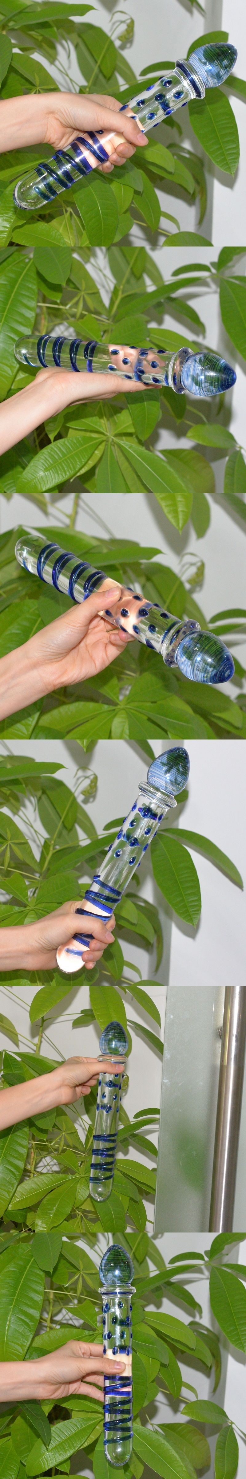 Huge Big Pyrex Glass Dildo Double Ended Headed Crystal Fake Penis Anal Butt  Plug G Spot
