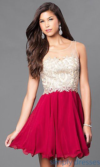 Fit And Flare Short Party Dress With Beaded Bodice Dresses