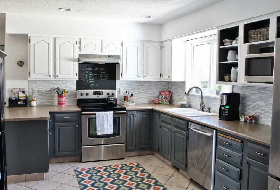 Painted Cathedral Cabinets Small Kitchen Google Search Gray And White Kitchen White Kitchen Makeover Kitchen Design
