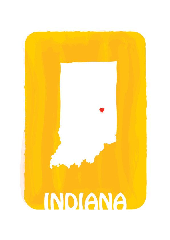 INDIANA Map - Mango Yellow - Personalized Custom Color Watercolor ...