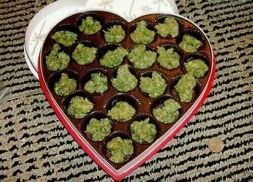 Weed -- lol!!! awesome v-day gift; but the chocolate is still needed!