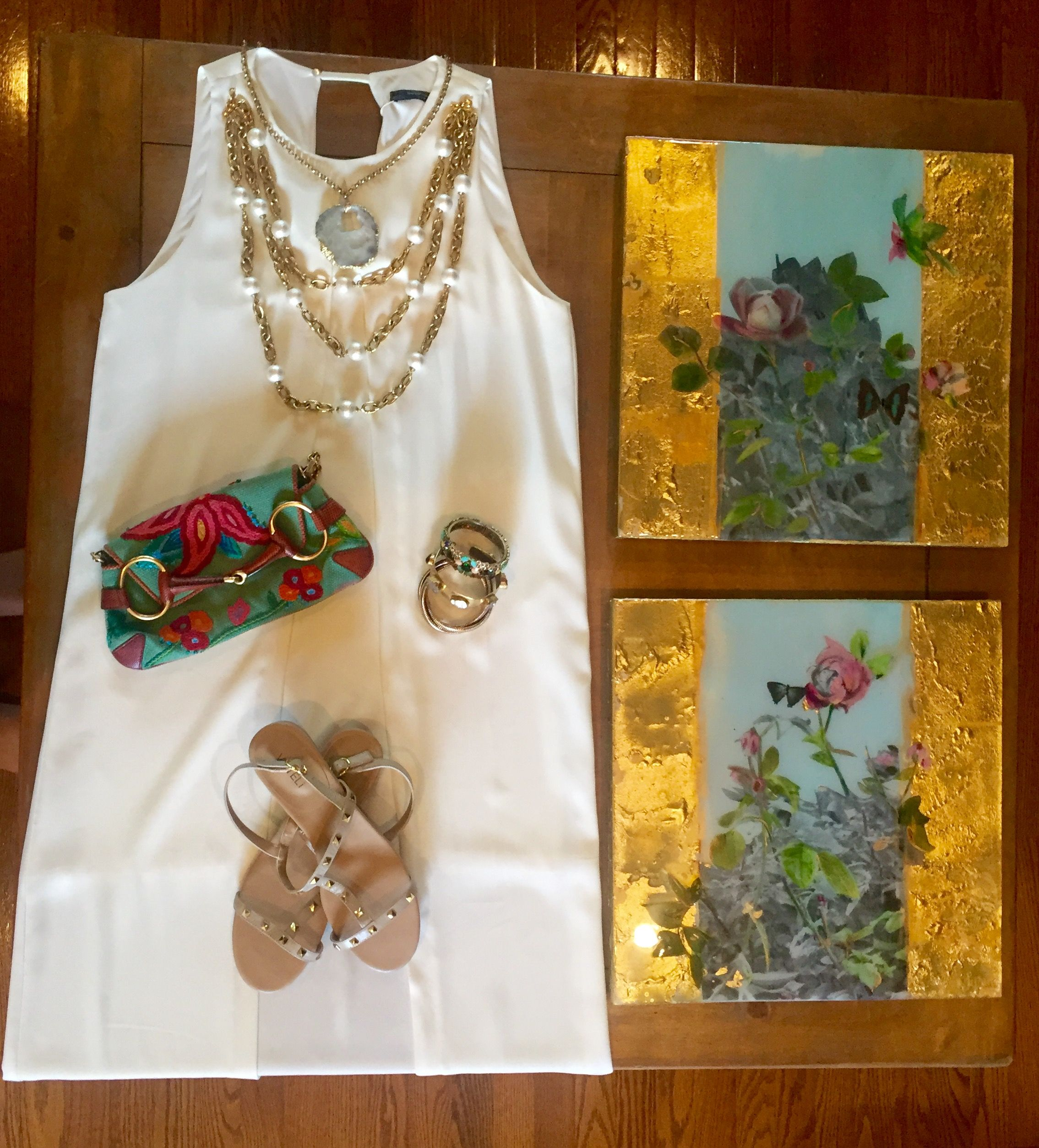 """My own """"Spring Day"""" outfit. Zara Dress, Vintage Gucci Clutch."""