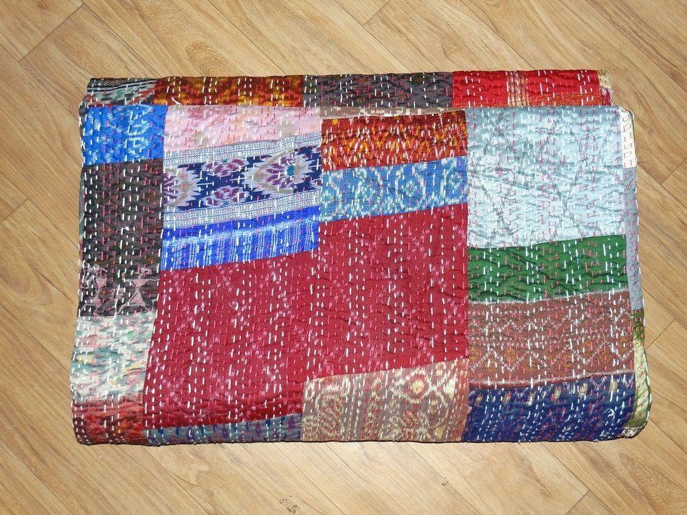 Handmade Vintage Kantha Quilt Patola Indian Silk Sari Kantha Quilted Bedspread #Handmade #Asian