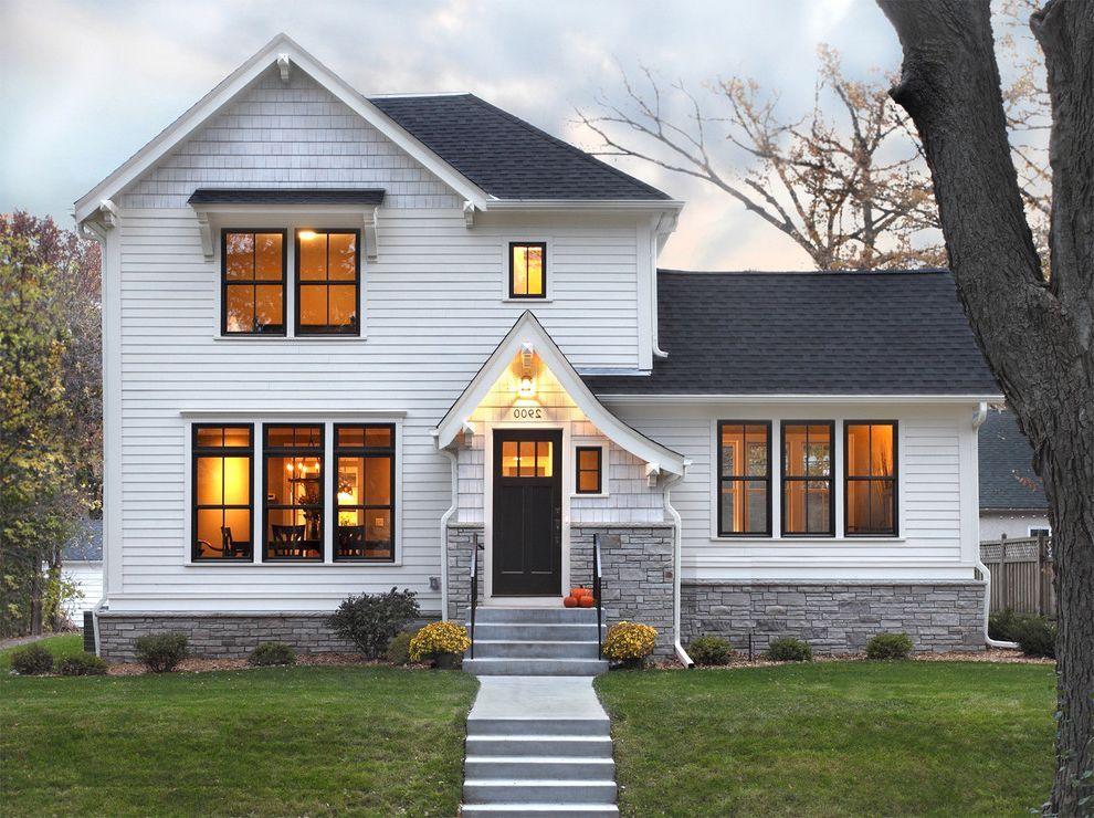 Bronze Vinyl Windows With Traditional Exterior And Dark Trim Dutch Gable Roof Exterior Light White Exterior Houses White House Black Windows Black Window Trims
