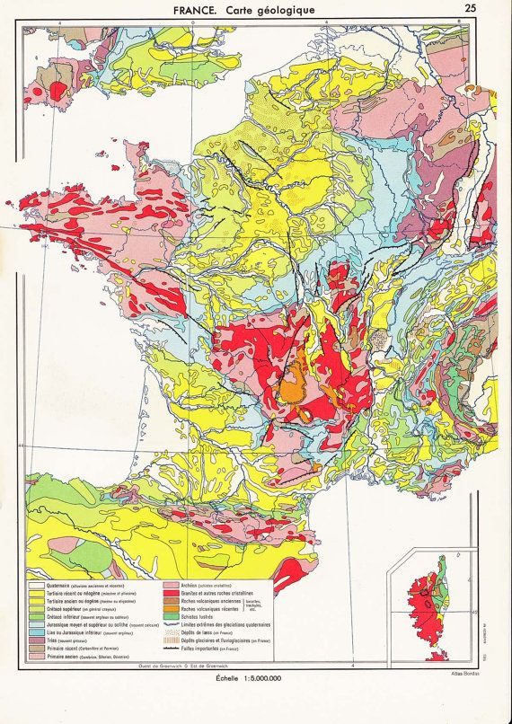 1950s France Geological Map Carte Geologique Cartographie